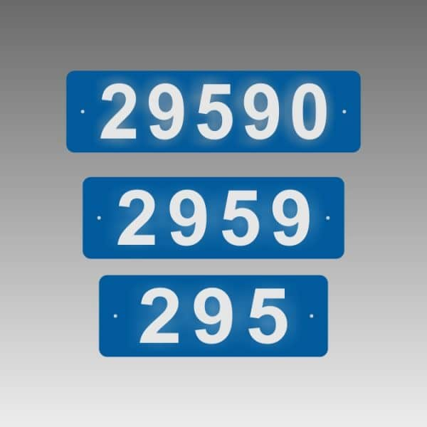 Horizontal Single-Sided Reflective Address Number Signs