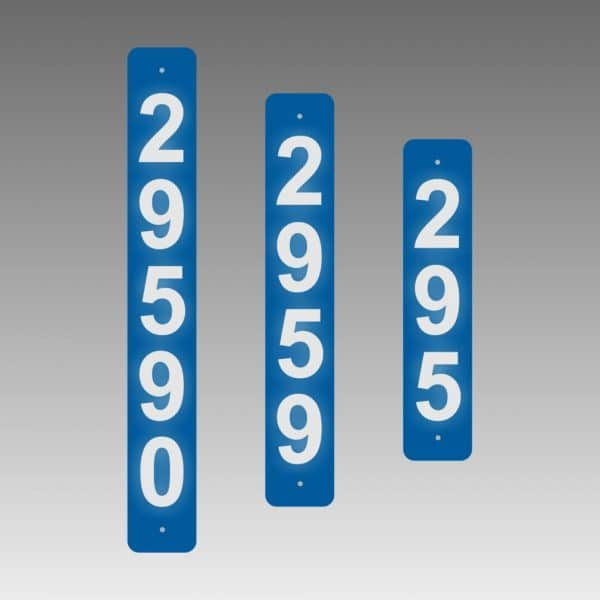 Vertical Narrow Single-Sided Reflective Address Number Signs to fit 4x4
