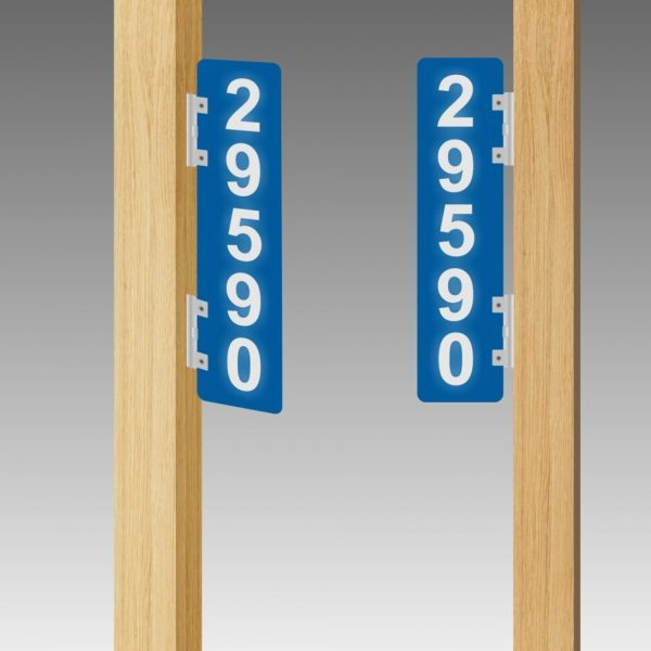 Vertical Double-Sided Side-Brackets Flag-Style Reflective Address Number Signs
