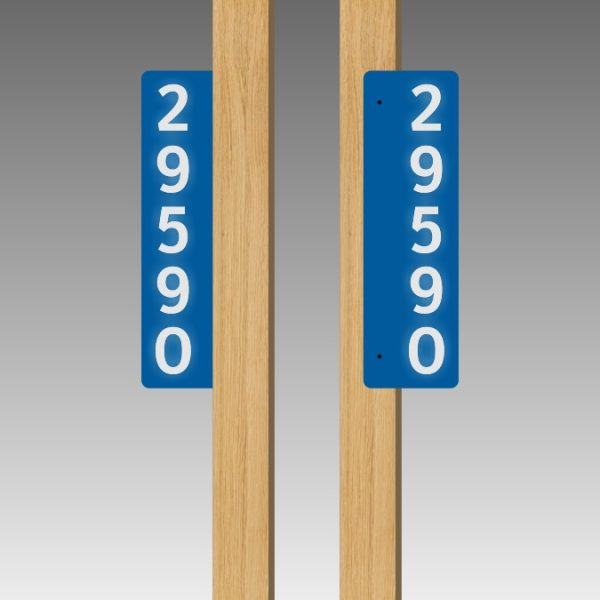 Vertical Double-Sided Side-Mounted Flag-Style Reflective Address Number Signs