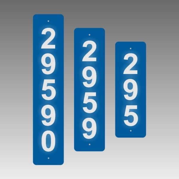 Vertical Single-Sided Reflective Address Number Signs - Perfect Near Doors