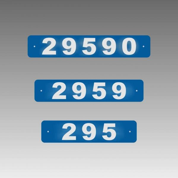 Horizontal Narrow Single-Sided Reflective Address Number Signs