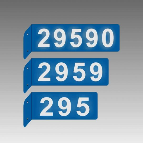 Horizontal Double-Sided Side-Mounted Flag-Style L-Shaped Reflective Address Number Signs