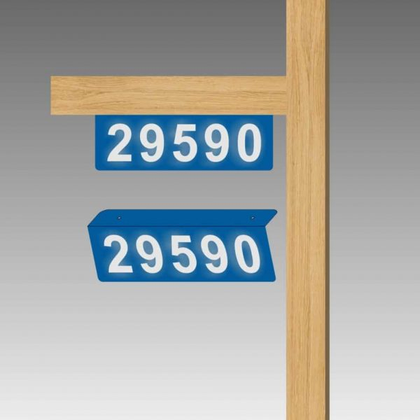 Horizontal Double-Sided Top-Mounted L-Shaped Flag-Style Reflective Address Number Signs