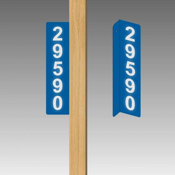 Vertical Double-Sided Side-Mounted L-Shaped Flag-Style Reflective Address Number Signs