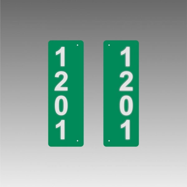 Vertical Double-Sided Side-Mounted Flag-Style Reflective Address Number Signs for PEAK U-Posts